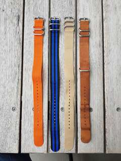 Various NATO and ZULU watch straps