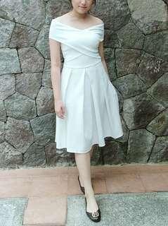 Dress putih pesta ballerina bahan scuba hanya dipakai 1x