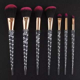 7pcs Unicorn crystal makeup brush set