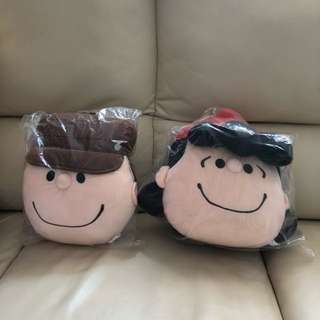 Snoopy Cushion (Charlie Brown & Lucy) 咕𠱸公仔 全新未拆封