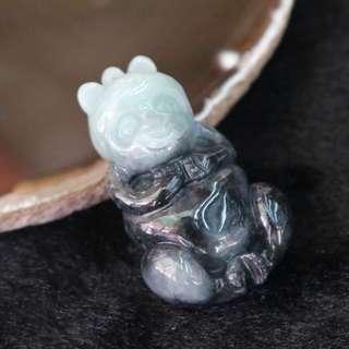 Type A Burmese Jade Jadeite Panda - 31.36g L25.9 W42.7 D16.7mm
