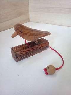 木製琢木鳥叫鈴 (古玩)