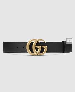 Like New Gucci Double G Black Leather Belt