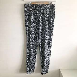Plus Size 14 (fits XL~2XL) Grey Animal Leopard Print Casual Draw String Pants @sunwalker