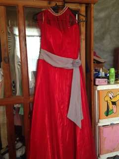 Halter red evening gown