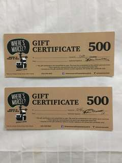 2 for 600. Where's Marcel coffee shop gift certificates for sale. Cheap.