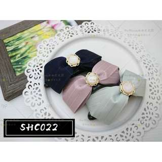 【Her Majesty的秘密花園】正韓貨氣質條紋珍珠立體蝴蝶結拱型夾髮飾髮夾SHC022