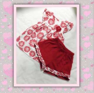 Red Floral Top with Matching Short Pants