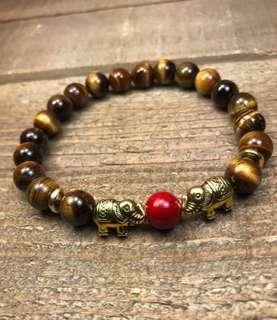 Tiger's eye elephant bracelet