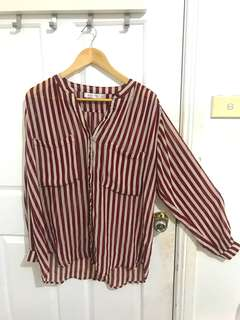 Red & white stripped chiffon top