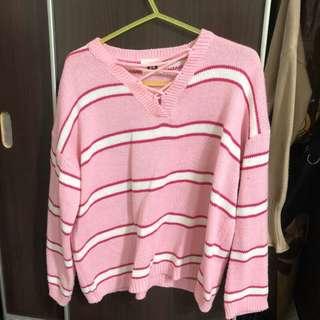 🚚 《二手》粉色條紋針織上衣