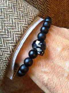Onyx with crystal skull bracelet
