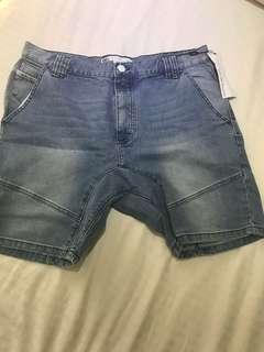 Men's BNWT drop crotch Shorts Sz 34 Light Blue Wash