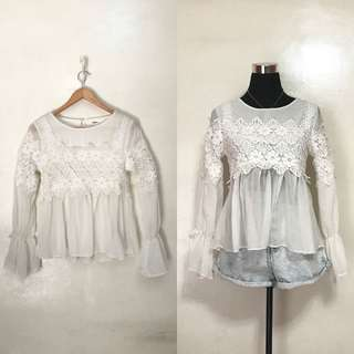 [Preloved] Boho Sheer White Lacey Long Sleeves Top