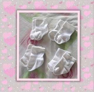 4 pairs White Cotton Baby Socks