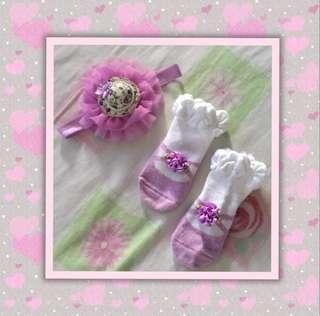 Purple Baby Headband with Matching Socks