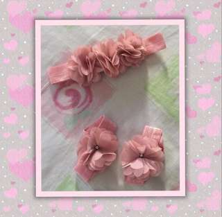 Old Rose Baby Headband with Matching Barefoot Sandals