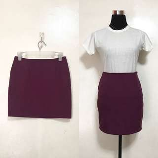 [Preloved] Purple Plain Pencil Skirt