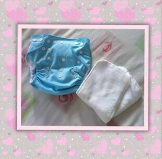 Sky Blue Baby Cloth Diaper with Liner