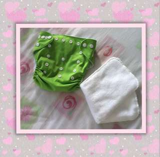 Green Cloth Diaper with Liner