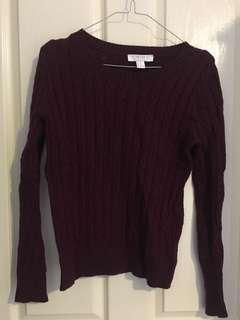 Forever 21 burgundy jumper xs