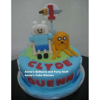 1-Layer Adventure Time Theme Fondant Cake