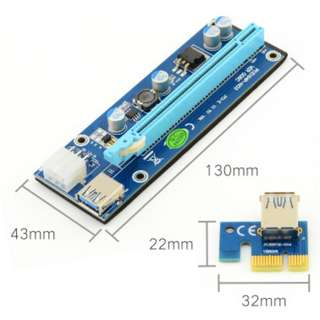 PCI-E 1X TO 16X POWERED RISER CARD MINING RENDERING KIT for Rig Mining