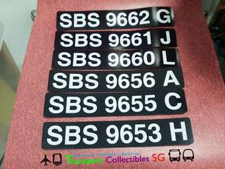 SBS Transit - Interior Registration Plate (Upper Deck)