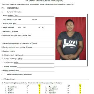 Ei Phyu Chaw ( Ex Sinagpore , Elderly care )