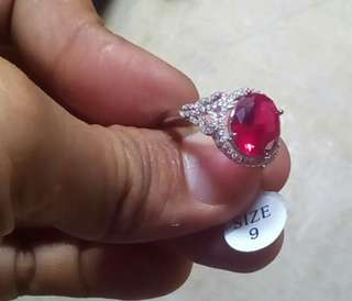 Sterling Silver Rose Red Oval Pigeon Women Rings, Female Ring Size 9 Fashion Brand Ruby Jewelry
