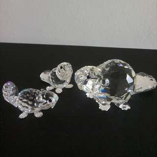 97 Swarovski Crystal - Beaver Family (Signed)