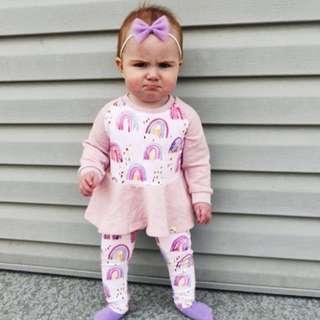 ✔️STOCK - PINK UNICORN LONG SLEEVES BABY TODDLER GIRL FLARE DRESS ROMPER KIDS CHILDREN CLOTHING