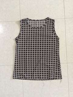 Vintage Checkered Black and White Top