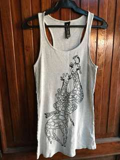 Gray Racer Back Ribbed Top