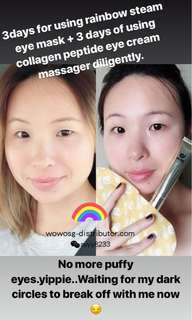 WOWO Collagen peptide eye cream + rainbow steamed eye mask (Save $4 for a set)