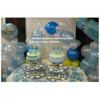 Baptismal Party Package: 2 Cake Towers with 80 Cupcakes and Balloon Arrangement (1 Pair of Pillars and 1 Cake Arch)