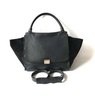 CHEAP! Preloved Authentic Celine Trapeze Medium Black Grained 2012