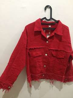 Red jacket jeans
