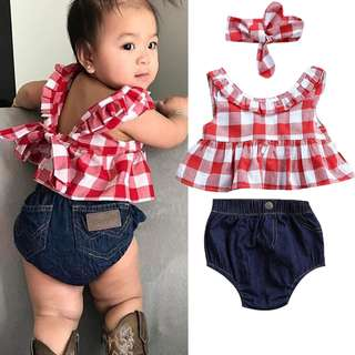 ✔️STOCK - 3pc RED GINGHAM TOP & JEANS BLOOMER SHORTS WITH HEADBAND SET NEWBORN BABY TODDLER GIRL KIDS CHILDREN CLOTHING