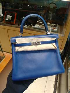 Hermes kelly 25 saphir X stamp