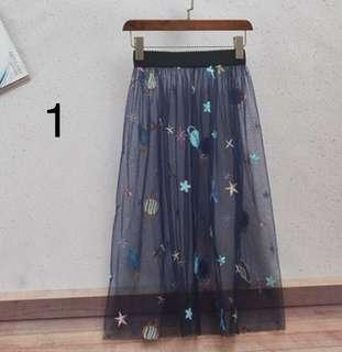 🚚 裙子夏女2018新款潮長裙大擺外搭透視網紗半身裙透視紗裙罩裙