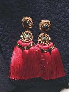 Merriam Batara Tassle Earrings in Wine