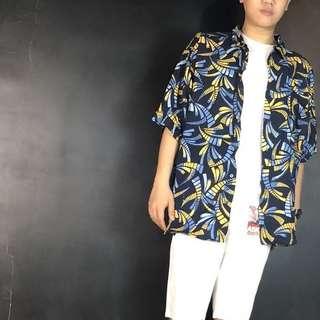 🚚 第二件六折*古著藍+黃色印花短袖夏威夷襯衫