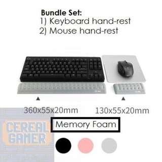 🚚 BN Grey Memory Foam 68 Keyboard Hand Rest Bundle