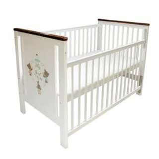 GMP BABY 東京西川 熊兔白色實木嬰兒床+床具組