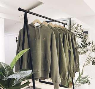 Authentic Champion Hoodie / Reverse Weave Olive Pigmented Dye champion hoodie