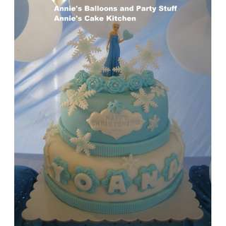 2-Layer Frozen Theme Fondant Cake (all Belgian chocolate cake layers)