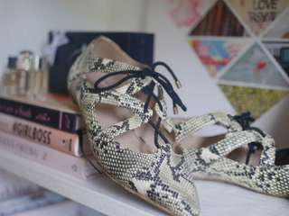 Animal Printed Lace-Up Flats