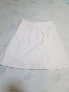 Off White Skirt with Ribbon Detail