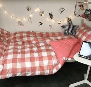 超熱銷 舒適 粉格款 少女心床包組 被單 枕套 床單 學生宿舍床墊 加大床墊